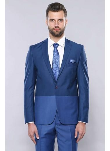 Wessi Erkek Slim Fit Renk Geçişli Takım Elbise Lacivert
